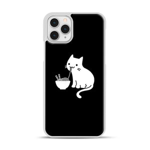 Cute Cat Eating Ramen iPhone 11 Pro Case, White Rubber Case | Webluence.com