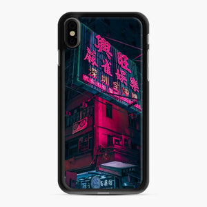 Cyberpunk Gaming Theme iPhone XS Max Case, Black Rubber Case