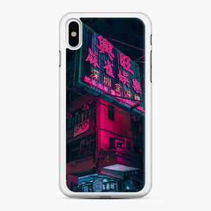 Cyberpunk Gaming Theme iPhone XS Max Case, White Rubber Case
