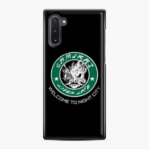 Cyberpunk Samurai Coffee Starbucks Black White Samsung Galaxy Note 10 Case, Black Plastic Case