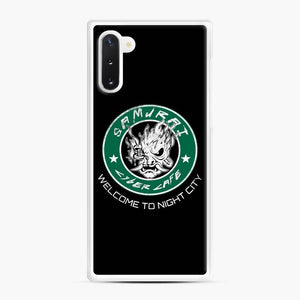 Cyberpunk Samurai Coffee Starbucks Black White Samsung Galaxy Note 10 Case, White Rubber Case