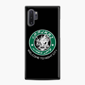 Cyberpunk Samurai Coffee Starbucks Black White Samsung Galaxy Note 10 Plus Case, Black Plastic Case