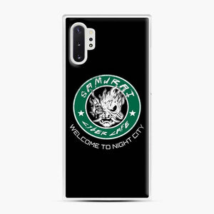 Cyberpunk Samurai Coffee Starbucks Black White Samsung Galaxy Note 10 Plus Case, White Plastic Case