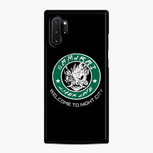 Cyberpunk Samurai Coffee Starbucks Black White Samsung Galaxy Note 10 Plus Case, Black Rubber Case