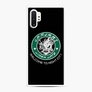Cyberpunk Samurai Coffee Starbucks Black White Samsung Galaxy Note 10 Plus Case, White Rubber Case