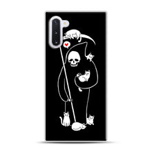 Load image into Gallery viewer, Death Is A Cat Person Samsung Galaxy Note 10 Case, White Rubber Case | Webluence.com