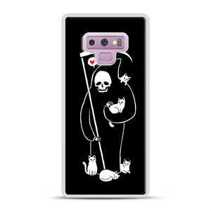 Death Is A Cat Person Samsung Galaxy Note 9 Case, White Rubber Case | Webluence.com