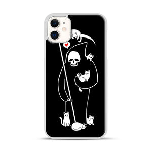 Death Is A Cat Person iPhone 11 Case.jpg, White Rubber Case | Webluence.com