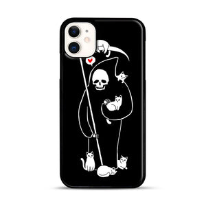 Death Is A Cat Person iPhone 11 Case.jpg, Black Rubber Case | Webluence.com