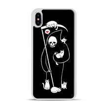 Load image into Gallery viewer, Death Is A Cat Person iPhone XS Max Case, White Plastic Case | Webluence.com