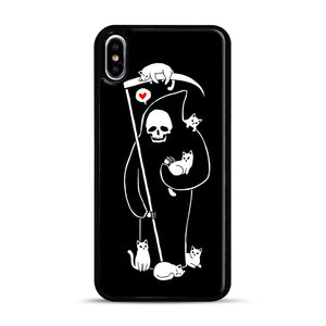 Death Is A Cat Person iPhone XS Max Case, Black Rubber Case | Webluence.com