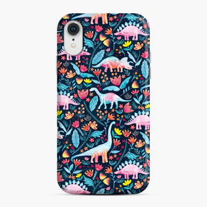 Dinosaur Delight And Flowers Watercolor Paleontologist iPhone XR Case