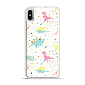 Dinosaur Pattern 1 iPhone XS Max Case, White Rubber Case | Webluence.com