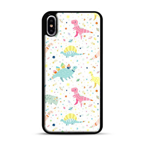 Dinosaur Pattern 1 iPhone XS Max Case, Black Rubber Case | Webluence.com