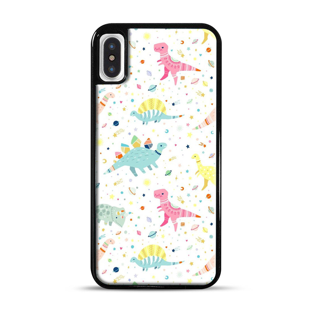 Dinosaur Pattern 1 iPhone X/XS Case, Black Plastic Case | Webluence.com