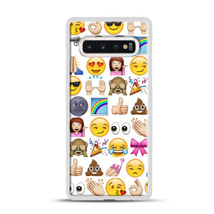 EMOJIS ARE A GALS BEST FRIEND Samsung Galaxy S10 Case, White Plastic Case | Webluence.com