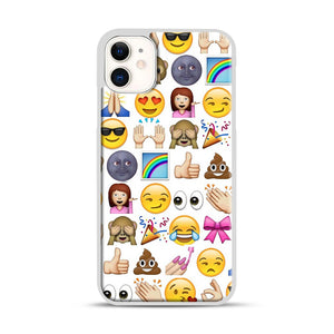 EMOJIS ARE A GALS BEST FRIEND iPhone 11 Case.jpg, White Rubber Case | Webluence.com