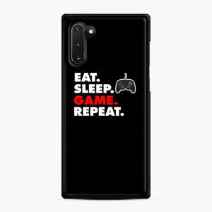 Eat Sleep Game Repeat Fortnite Samsung Galaxy Note 10 Case, Black Rubber Case