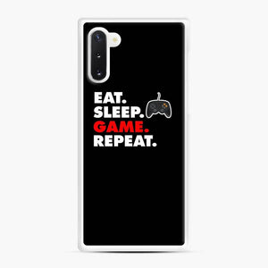 Eat Sleep Game Repeat Fortnite Samsung Galaxy Note 10 Case, White Rubber Case