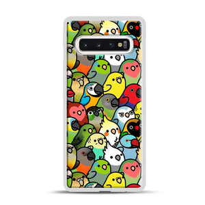 Everybirdy Pattern Samsung Galaxy S10 Case, White Rubber Case | Webluence.com