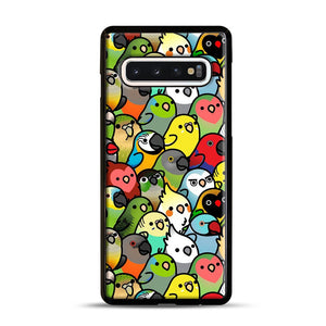 Everybirdy Pattern Samsung Galaxy S10 Case, Black Rubber Case | Webluence.com