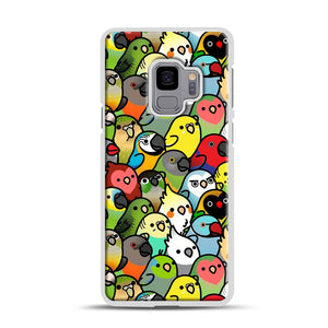 Everybirdy Pattern Samsung Galaxy S9 Case, White Rubber Case | Webluence.com