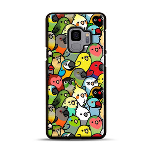Everybirdy Pattern Samsung Galaxy S9 Case, Black Rubber Case | Webluence.com