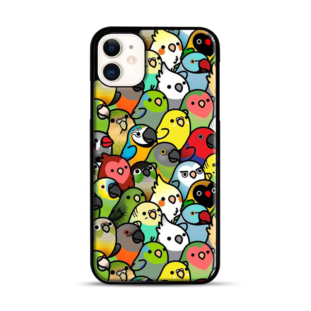 Everybirdy Pattern iPhone 11 Case.jpg, Black Plastic Case | Webluence.com