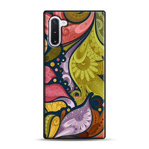 Floral Doodle Samsung Galaxy Note 10 Case, Black Rubber Case | Webluence.com