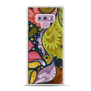 Floral Doodle Samsung Galaxy Note 9 Case, White Rubber Case | Webluence.com