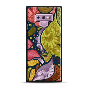 Floral Doodle Samsung Galaxy Note 9 Case, Black Rubber Case | Webluence.com