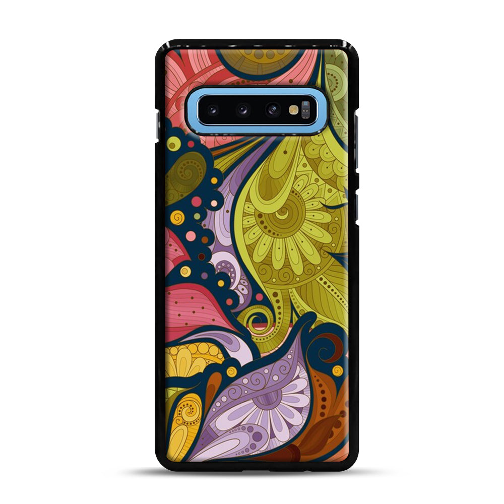Floral Doodle Samsung Galaxy S10 Plus Case, Black Plastic Case | Webluence.com