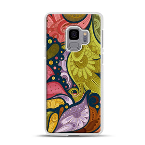 Floral Doodle Samsung Galaxy S9 Case, White Rubber Case | Webluence.com
