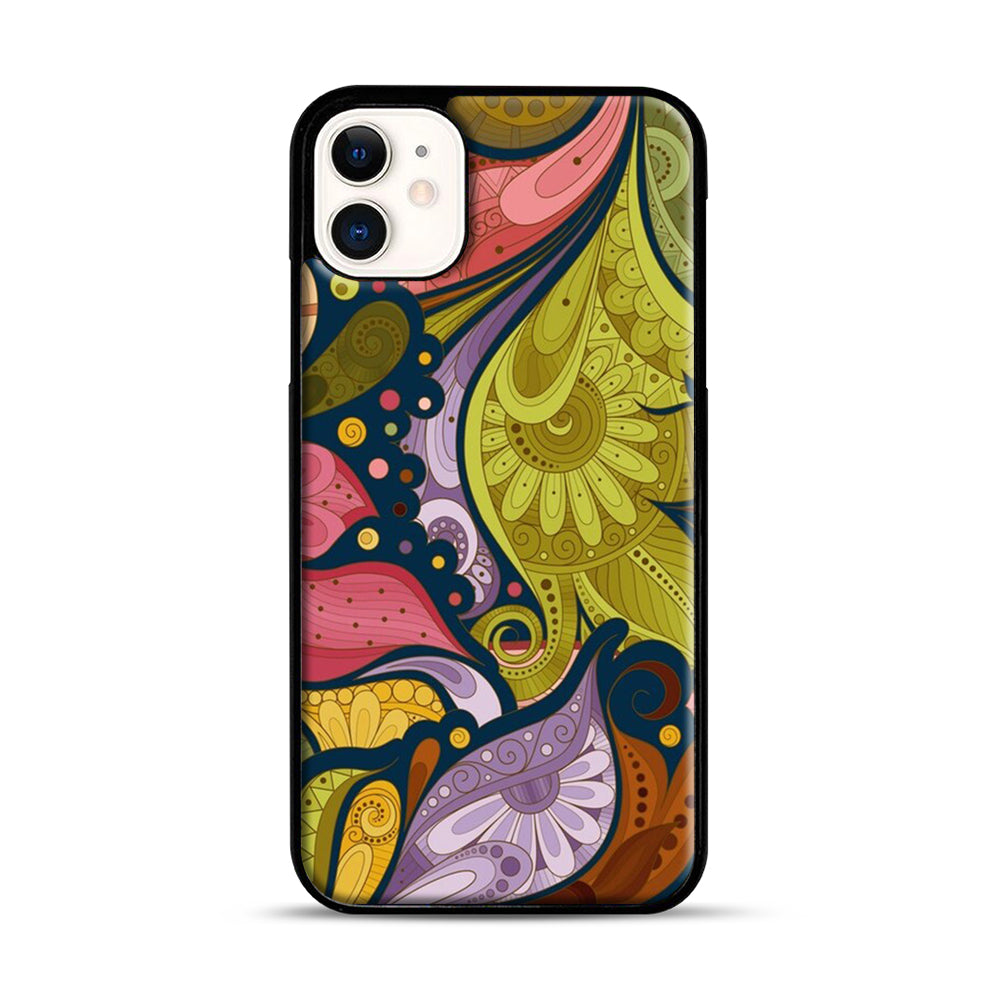 Floral Doodle iPhone 11 Case.jpg, Black Plastic Case | Webluence.com