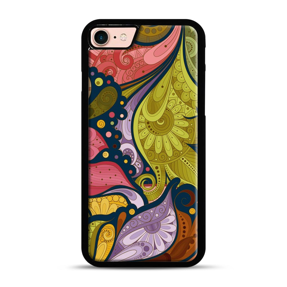 Floral Doodle iPhone 7/8 Case.jpg, Black Plastic Case | Webluence.com