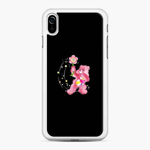 Flower Care Bears 1 iPhone XR Case, White Rubber Case