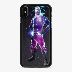 Galaxy Fortnite iPhone X / XS Case, Black Rubber Case