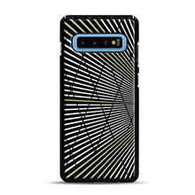 Load image into Gallery viewer, Gold and Black Line Pattern Samsung Galaxy S10 Plus Case, Black Plastic Case | Webluence.com