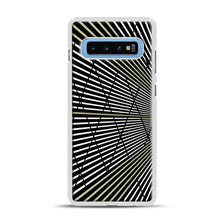 Load image into Gallery viewer, Gold and Black Line Pattern Samsung Galaxy S10 Plus Case, White Rubber Case | Webluence.com
