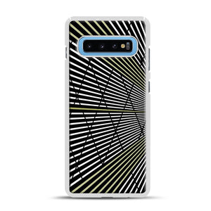 Gold and Black Line Pattern Samsung Galaxy S10 Plus Case, White Rubber Case | Webluence.com