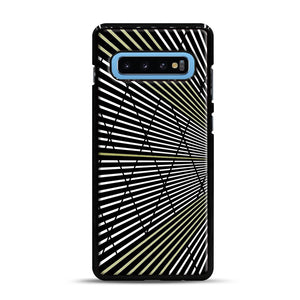 Gold and Black Line Pattern Samsung Galaxy S10 Plus Case, Black Rubber Case | Webluence.com
