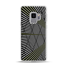 Load image into Gallery viewer, Gold and Black Line Pattern Samsung Galaxy S9 Case, White Plastic Case | Webluence.com
