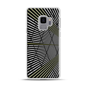 Gold and Black Line Pattern Samsung Galaxy S9 Case, White Plastic Case | Webluence.com