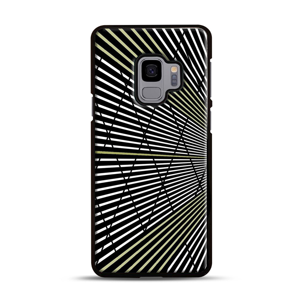Gold and Black Line Pattern Samsung Galaxy S9 Case, Black Plastic Case | Webluence.com