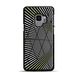 Gold and Black Line Pattern Samsung Galaxy S9 Case, Black Rubber Case | Webluence.com