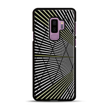 Load image into Gallery viewer, Gold and Black Line Pattern Samsung Galaxy S9 Plus Case, Black Plastic Case | Webluence.com