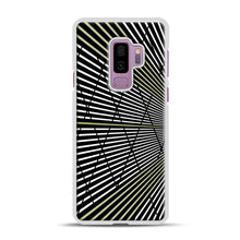 Load image into Gallery viewer, Gold and Black Line Pattern Samsung Galaxy S9 Plus Case, White Plastic Case | Webluence.com