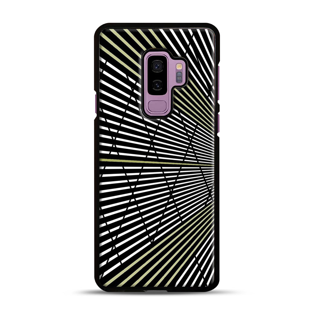 Gold and Black Line Pattern Samsung Galaxy S9 Plus Case, Black Plastic Case | Webluence.com