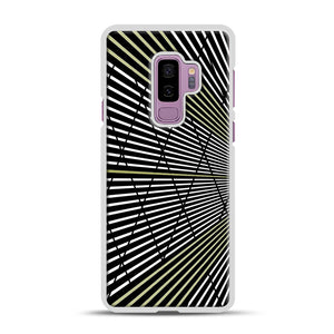 Gold and Black Line Pattern Samsung Galaxy S9 Plus Case, White Rubber Case | Webluence.com