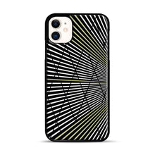 Load image into Gallery viewer, Gold and Black Line Pattern iPhone 11 Case.jpg, Black Plastic Case | Webluence.com